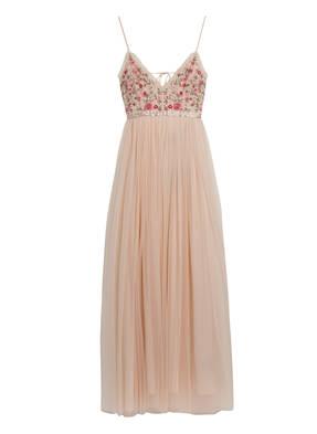 needle & thread Kleid mit Pailletten- und Perlenbesatz