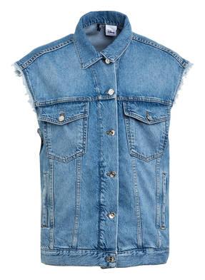LIU JO Oversized-Jeansweste mit Schmucksteinbesatz