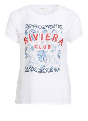 rich&royal T-Shirt im Materialmix mit Schmucksteinbesatz
