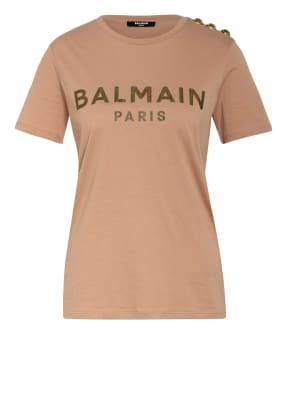 BALMAIN T-Shirt mit Schmucksteinbesatz