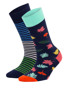 DillySocks 2er-Pack Strümpfe MIDNIGHT LEAVES – BLUE TRIPLET