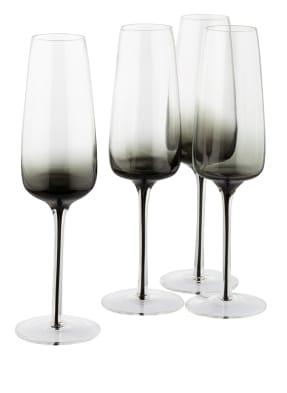 BROSTE COPENHAGEN 4er-Set Champagnergläser SMOKE