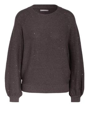HEMISPHERE Cashmere-Pullover mit Paillettenbesatz