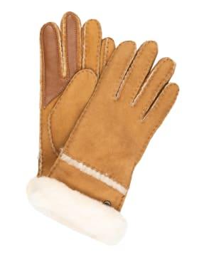 UGG Lederhandschuhe SEAMED TECH mit Echtfell und Touchscreen-Funktion