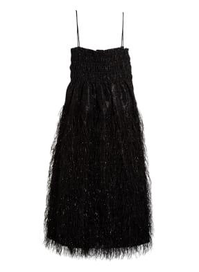 GANNI Kleid mit Spitzen- und Federbesatz