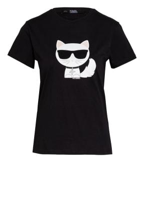 KARL LAGERFELD T-Shirt IKONIK CHOUPETTE mit Schmucksteinbesatz
