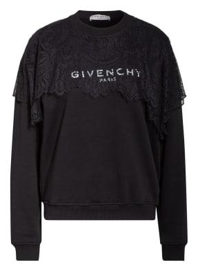 GIVENCHY Sweatshirt mit Spitzenbesatz
