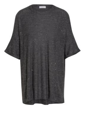 BRUNELLO CUCINELLI Oversized-Shirt mit Cashmere und Paillettenbesatz