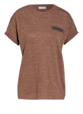 BRUNELLO CUCINELLI T-Shirt aus Leinen mit Schmucksteinbesatz