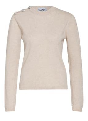 GANNI Cashmere-Pullover mit Schmucksteinbesatz