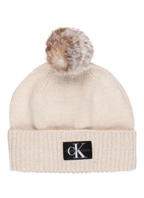Calvin Klein Mütze mit Glitzergarn
