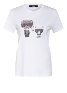 KARL LAGERFELD T-Shirt IKONIK mit Schmucksteinbesatz