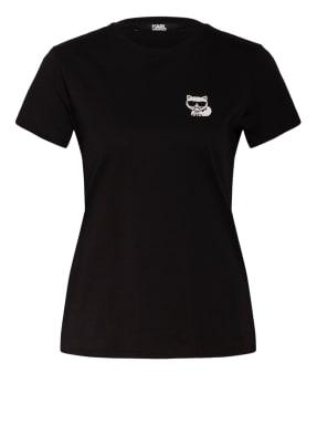 KARL LAGERFELD T-Shirt IKONIK mit Strasssteinbesatz