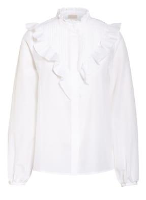 Mrs & HUGS Bluse mit Seide und  Rüschenbesatz