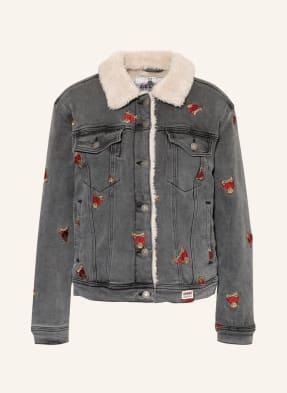 GUESS Jeansjacke mit Kunstfellbesatz und Stickereien