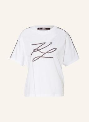 KARL LAGERFELD T-Shirt mit Schmucksteinbesatz
