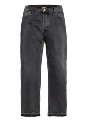 VALENTINO Jeans Regular Fit im Materialmix mit verkürzter Beinlänge