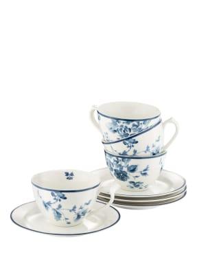 LAURA ASHLEY 4er-Set Tassen mit Untertasse CHINA ROSE