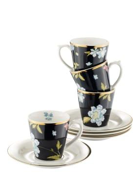 LAURA ASHLEY 4er-Set Espressotassen mit Untertasse MIDNIGHT