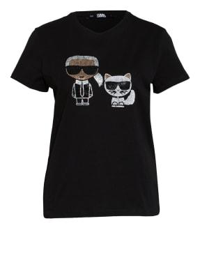 KARL LAGERFELD T-Shirt IKONIK mit Paillettenbesatz
