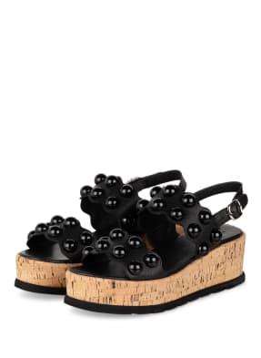 Pertini Plateau-Sandalen mit Nietenbesatz