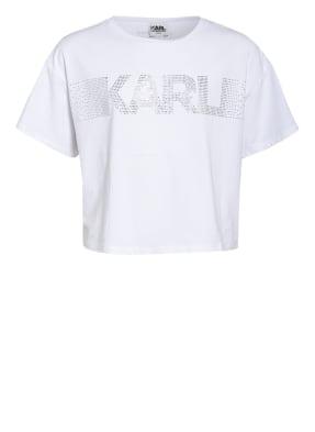 KARL LAGERFELD KIDS Cropped-Shirt mit Schmucksteinbesatz