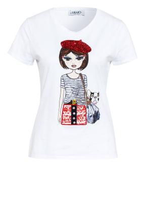 LIU JO T-Shirt mit Schmuckstein- und Paillettenbesatz