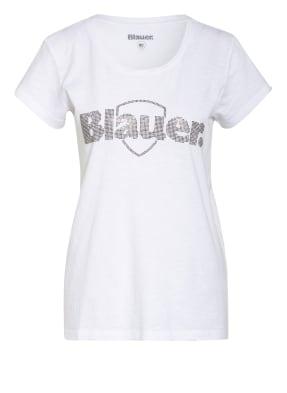 Blauer T-Shirt mit Schmucksteinbesatz