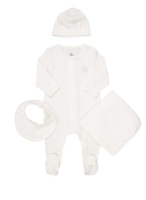 PETIT BATEAU Set: Strampler, Lätzchen, Mütze und Decke