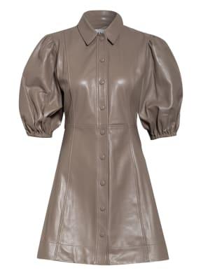GANNI Hemdblusenkleid aus Leder mit 3/4-Arm