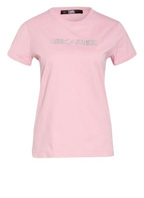 KARL LAGERFELD T-Shirt mit Strasssteinbesatz