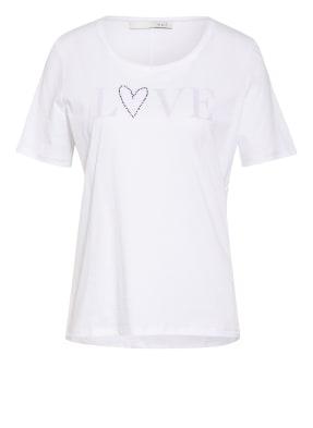 oui T-Shirt mit Schmucksteinbesatz