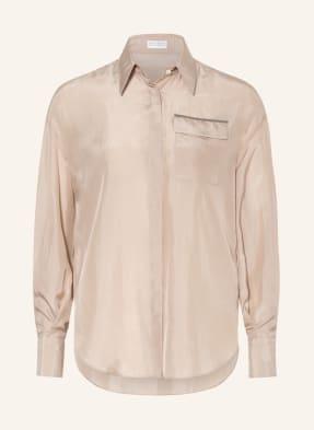 BRUNELLO CUCINELLI Hemdbluse aus Seide mit Perlenbesatz