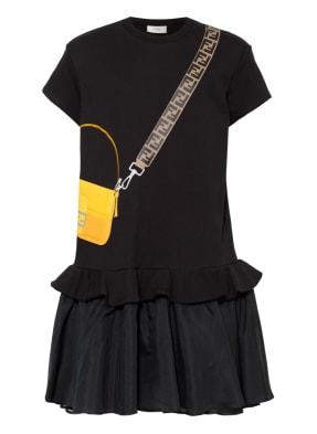 FENDI Kleid mit Volantbesatz im Materialmix