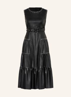 PINKO Kleid DAWSON in Lederoptik mit Nietenbesatz