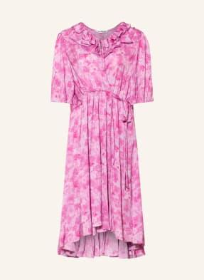 BALENCIAGA Wickelkleid mit 3/4-Arm und Rüschenbesatz