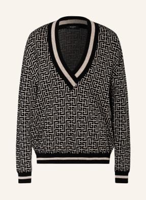BALMAIN Jacquard-Pullover mit Leinen