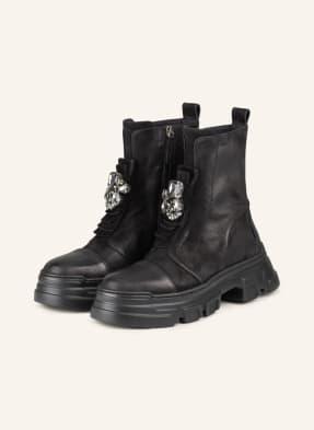 NO CLAIM Plateau-Boots mit Schmucksteinbesatz