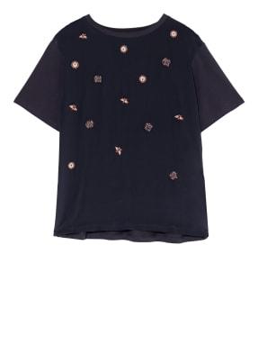 WEEKEND MaxMara Blusenshirt mit Perlenbesatz im Materialmix