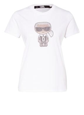 KARL LAGERFELD T-Shirt IKONIK RHINESTONE mit Schmucksteinbesatz