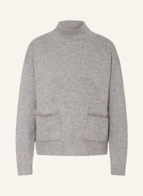 HEMISPHERE Cashmere-Pullover mit Schmucksteinbesatz