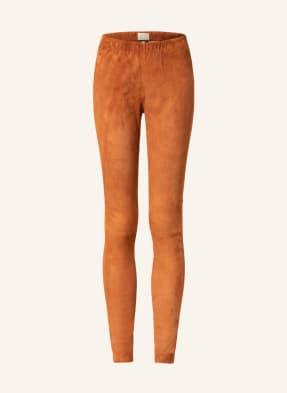 Mrs & HUGS Leggings aus Veloursleder