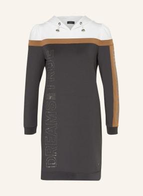 monari Hoodie-Kleid mit Schmucksteinbesatz