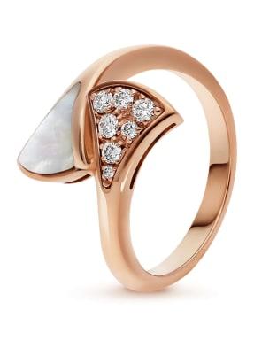 BVLGARI Ring DIVAS'DREAM aus 18 Karat Roségold, Diamanten und Perlmutt