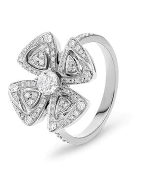 BVLGARI Ring FIOREVER aus 18 Karat Weißgold und Diamanten