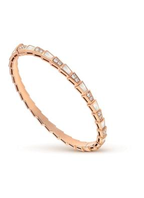 BVLGARI Armband SERPENTI aus 18 Karat Roségold, Diamanten und Perlmutt
