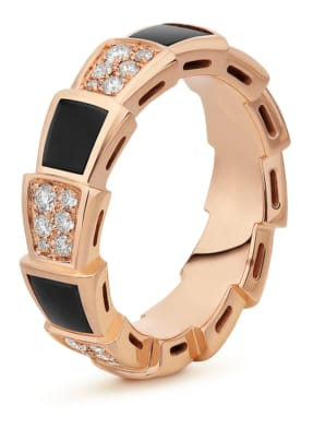 BVLGARI Ring SERPENTI aus 18 Karat Roségold, Diamanten und Onyx