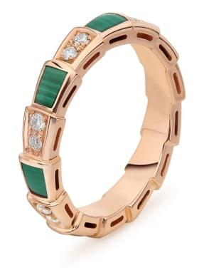 BVLGARI Ring SERPENTI aus 18 Karat Roségold, Diamanten und Malachit