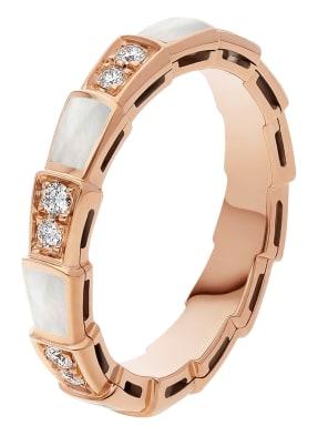 BVLGARI Ring SERPENTI aus 18 Karat Roségold, Diamanten und Perlmutt