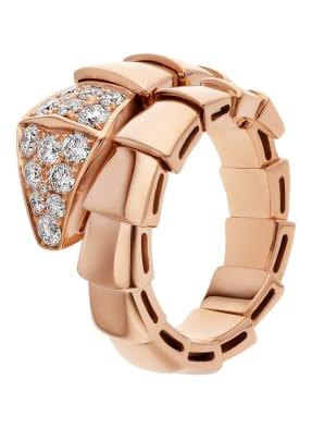 BVLGARI Ring SERPENTI aus 18 Karat Roségold mit Diamant-Pavé